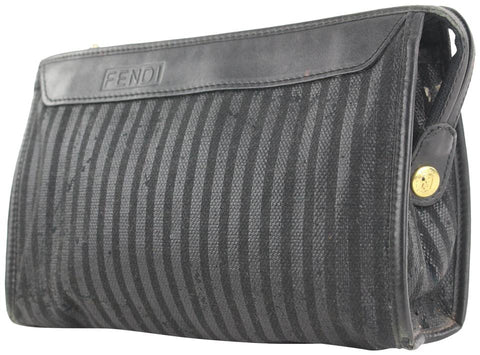 Fendi Black Pequin Stripe Cosemtic Pouch Make Up Case 54ff115