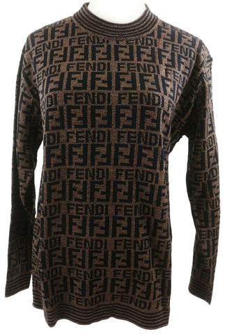 Fendi Size Large Rare Men's FF Monogram Knit Sweater  863089