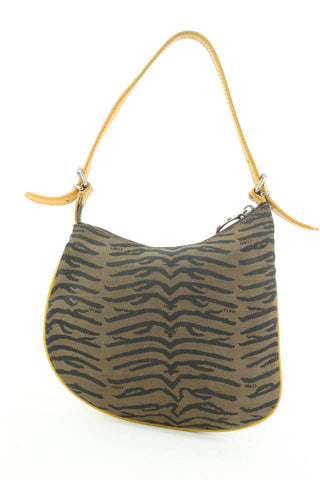 Fendi Brown x Yellow Zebra Zucca Ostrik Bag Kidney Hobo Bag 1ff113