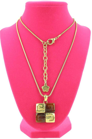 Givenchy Gold Tone x Amber Greek Key Logo Necklace 114gi128