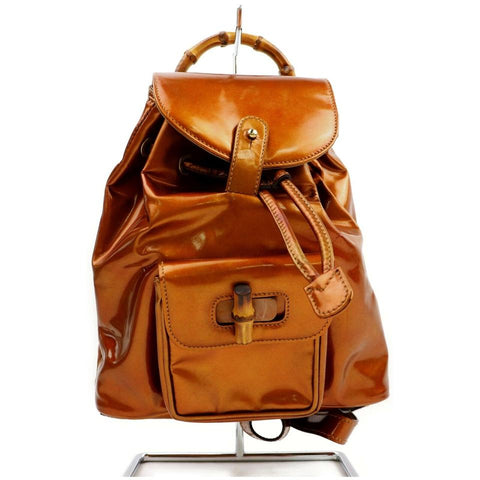 Gucci Back Pack Bamboo Browns Enamel 872505