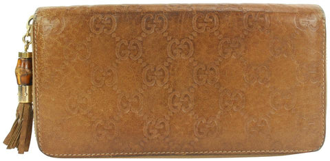 Gucci Brown Guccissima Leather Zip Around Wallet Continental  Zippy 4ga112