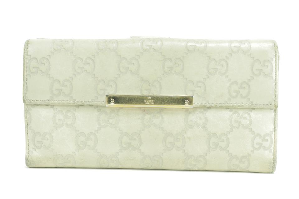 Gucci 41GK0110 Ivory Guccissima Leather Bifold Long Wallet
