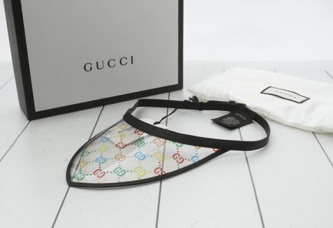 Gucci Monogram Multicolor Clear Sun Visor Cap Hat 860565