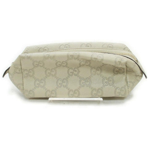 Gucci Off-White Guccissima Leather Cosmetic Pouch Make Up Pouch 861227