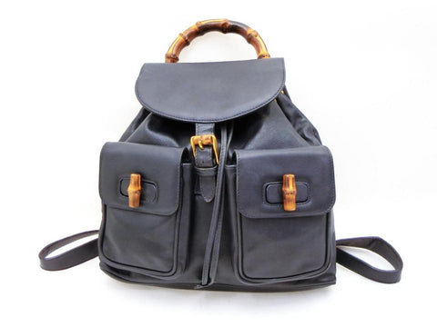 Gucci Navy Blue Leather Bamboo Twin Pocket Backpack 234319