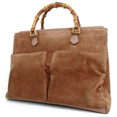 Gucci Brown Suede Bamboo Tote 859156