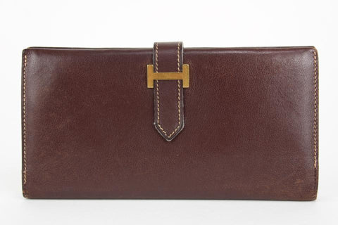 Hermès Dark Brown Bearn Bifold Long Flap H Wallet 23her1230