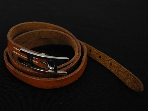 Hermès Brown Leather Api Belt Wrap Bracelet 217544