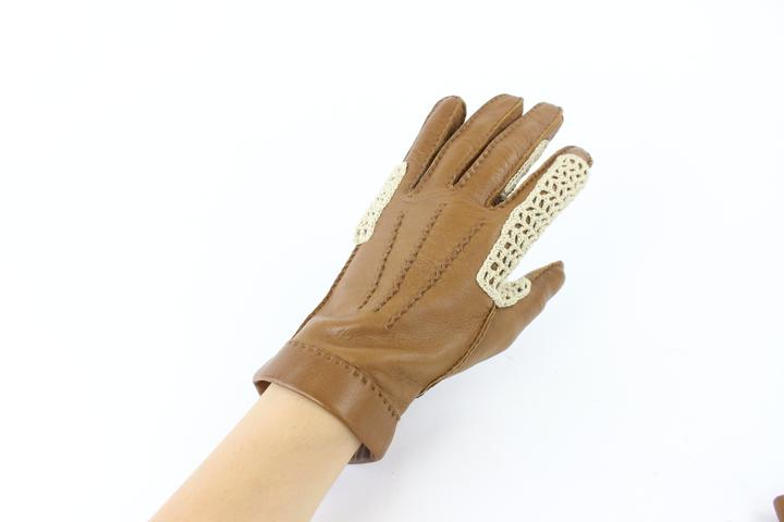 Hermès Brown Woven Gloves 29hz0717
