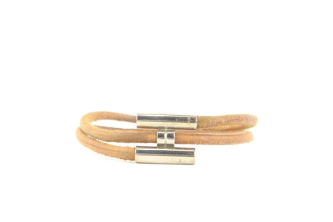 Hermès Brown x Silver H Logo Leather String Bracelet 696her319