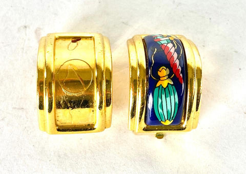Hermès Cloissone Blue Enamel Gold Earrings 5her64