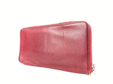 Hermès Silk In Burgundy Red Bordeaux Leather Azap Long Wallet 8HER916
