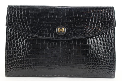 Hermès  Black Porosus Crocodile Rio Clutch Pochette Envelope Bag 536her310