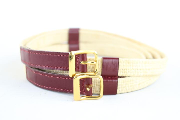 Hermès ( Rare ) Burgundy Toile Double Buckle Belt 223188