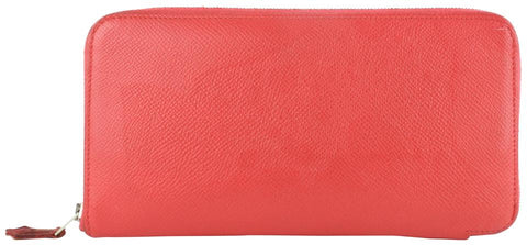 Hermès Red-Orange Coral Silk'In Long Zip Around Azap Wallet 857029