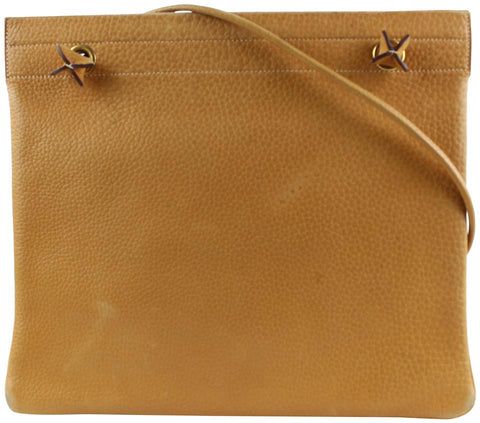 Hermes Brown Leather Aline MM Flat Tote Bag 5her1222