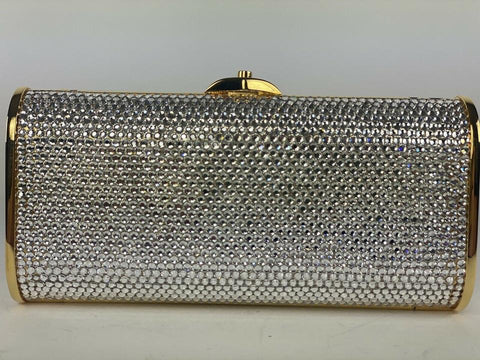 Judith Leiber Full Bead Crystal Minaudiere Gold Silver Chain Crossbody Evening 1ma4