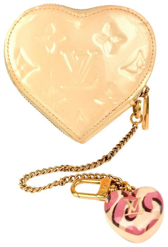 Louis Vuitton Sprouse Graffiti Beige Monogram Vernis Heart Coin Purse Cles 6L916