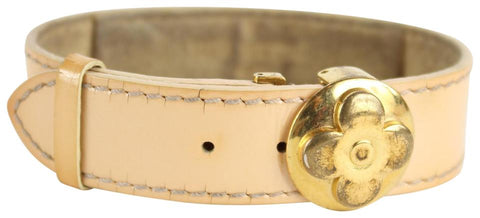 Louis Vuitton Beige Vachetta Leather Lucky Bracelet Bangle Cuff 11LVS1215