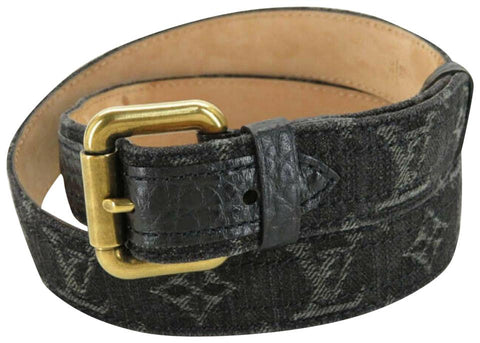 Louis Vuitton Black Charcoal Monogram Denim Ceinture Belt 80/32 860651