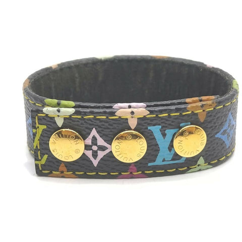 Louis Vuitton Rare Black Monogram Multicolor Snap Bracelet Cuff Bangle 863121