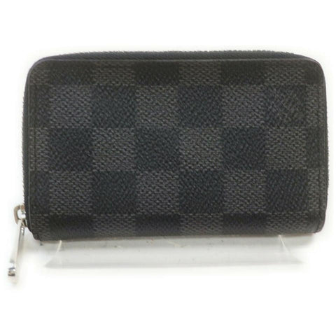Louis Vuitton Black Damier Graphite Zippy Coin Purse Compact Wallet 861781