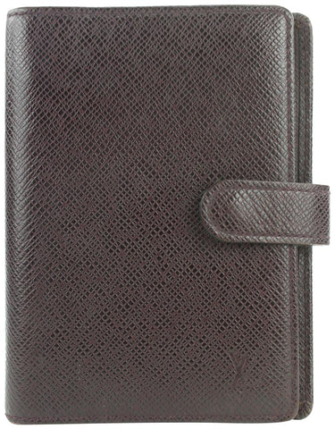 Louis Vuitton Bordeaux Taiga Leather Small Ring Agenda PM Diary Cover 5lvs114