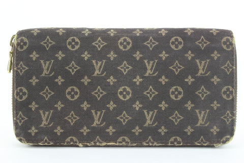 Louis Vuitton Ebene Brown Monogram Mini Lin Zippy Wallet Zip Around 2lvs17