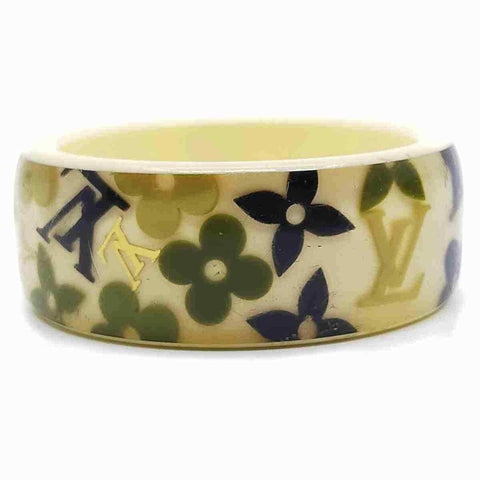 Louis Vuitton Paris Lucite Wide Bangle Bracelet Inclusion Khaki Beige Navy 860445