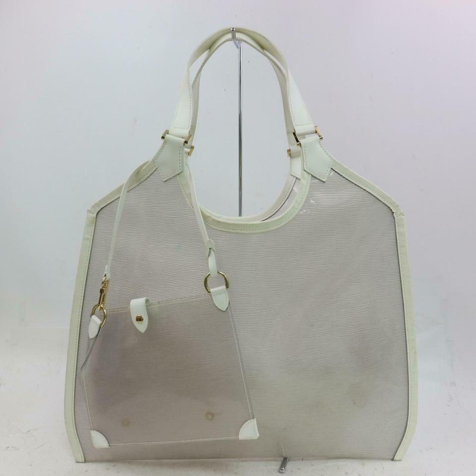 Louis Vuitton Lagoon Bay Plage Clear with Pouch 870896 White Epi Leather Tote