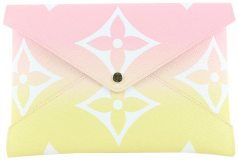 Louis Vuitton Large Pink x Yellow Monogram Kirigami GM Envelop Pouch 19lvs421