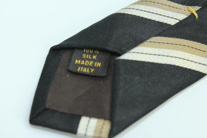 Black tie with horizontal taupe stripes TELM7 - Bagriculture
