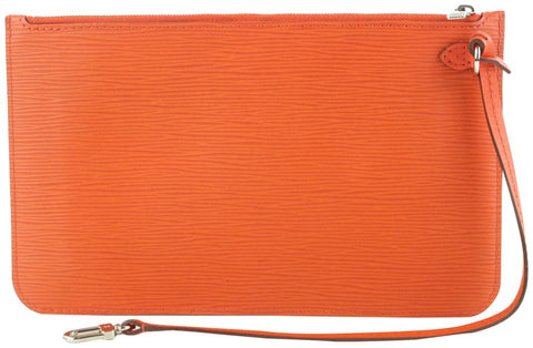 Louis Vuitton Manadarin Orange Leather Neverfull Pochette MM/GM Wristlet 18lvs121
