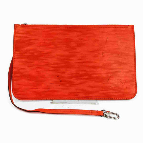Louis Vuitton Orange Epi Leather Neverfull Pochette Wristlet 860369