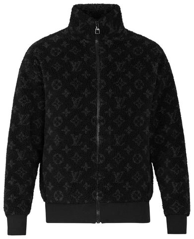 Louis Vuitton Blue Nuit Mens XL Jacquard Monogram Fleece Zip Teddy Jacket 861472