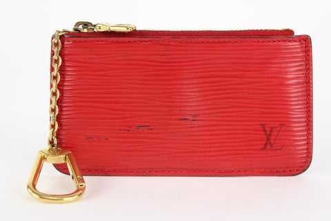 Louis Vuitton Red Epi Pochette Cles Key Pouch Coin Purse Keychain 18lvs1231
