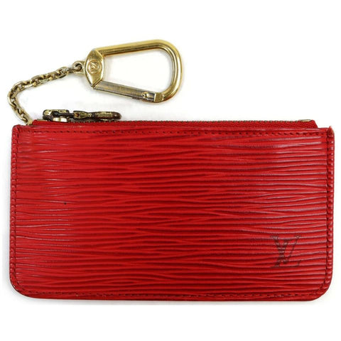 Louis Vuitton Red Epi Leather Key Pouch Pochette Cles Keychain 862642