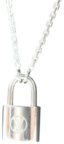 Louis Vuitton Pandantif Sier Lock It 925 Silver LV Padlock Chain Necklace 676lvs318