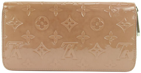 Louis Vuitton Rose Beige Monogram Vernis Zippy Wallet Zip Around 4lvs111