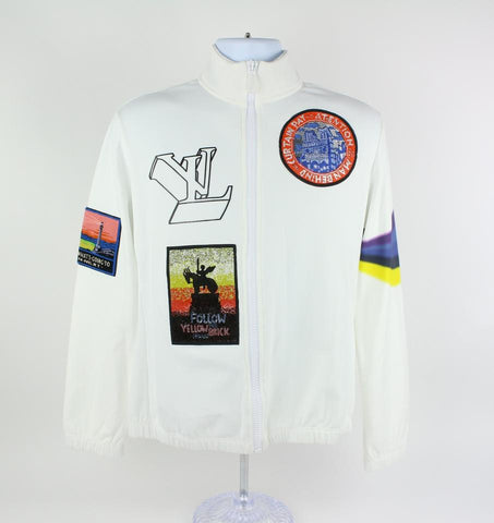 Louis Vuitton White (Runway) Virgil Ablow Patch Ss19 Sleeve Zip Up 14lz1023 Jacket