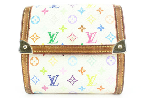 Louis Vuitton White Monogram Multicolor Blanc Elise Snap Compact Wallet 5lvs113