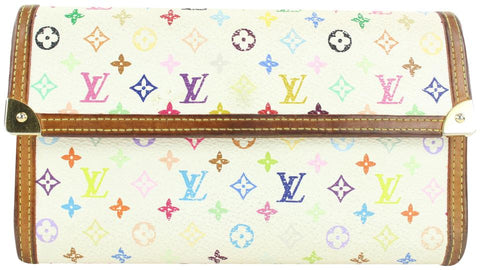 Louis Vuitton White Monogram Multicolor Blanc Porte Tresor Sarah Wallet 6lvs114