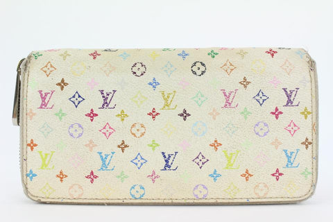 Louis Vuitton White Monogram Multicolor Zippy Wallet Zip Around 1lvs17