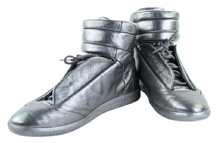 bd856f49a513a Maison Margiela Future Metallic Leather High-top Sneaker 1mk0919 Silver Athletic  Shoes