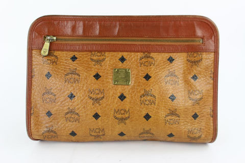 MCM Cognac Monogram Visetos Zip Pouch 230710 Brown Coated Canvas Wristlet
