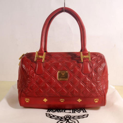 MCM Quilted Boston 869503 Red Leather Shoulder Bag