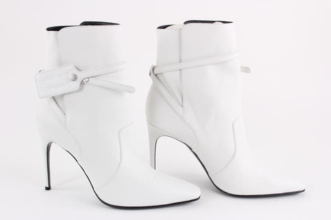 Off-White™ SZ 41 White Leather Zip Tie Pointed Toe Bootie 14off1221