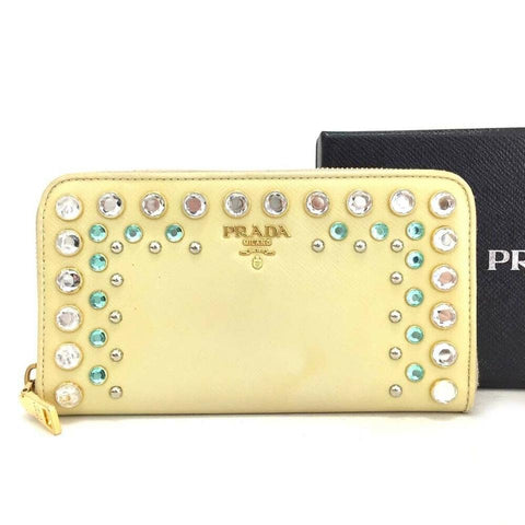 Prada Cream Saffiano Bijou Jewel Leather Zip Around Long Zippy Wallet 860531