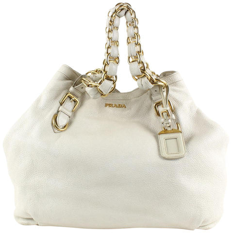 Prada Ivory Leather Gold Chain Hobo 19pr1228
